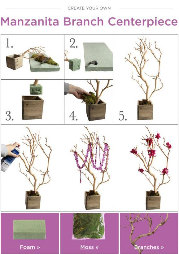 diy wedding branch centerpiece budget bride ideas afloralcom branches and wedding decor - Decor And More