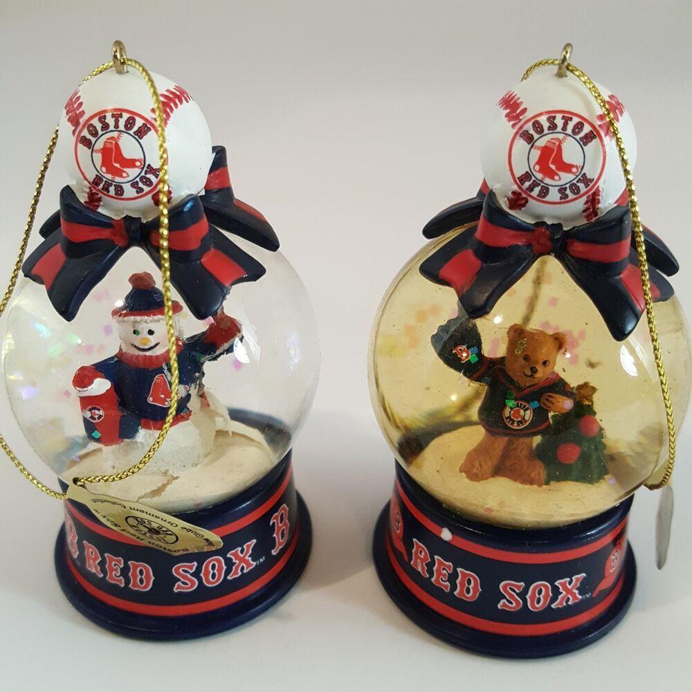 Plush Bears Danburymint Christmas 2020 Danbury Mint MLB Boston Red Sox Snow Globe 2 Ornaments Snowman