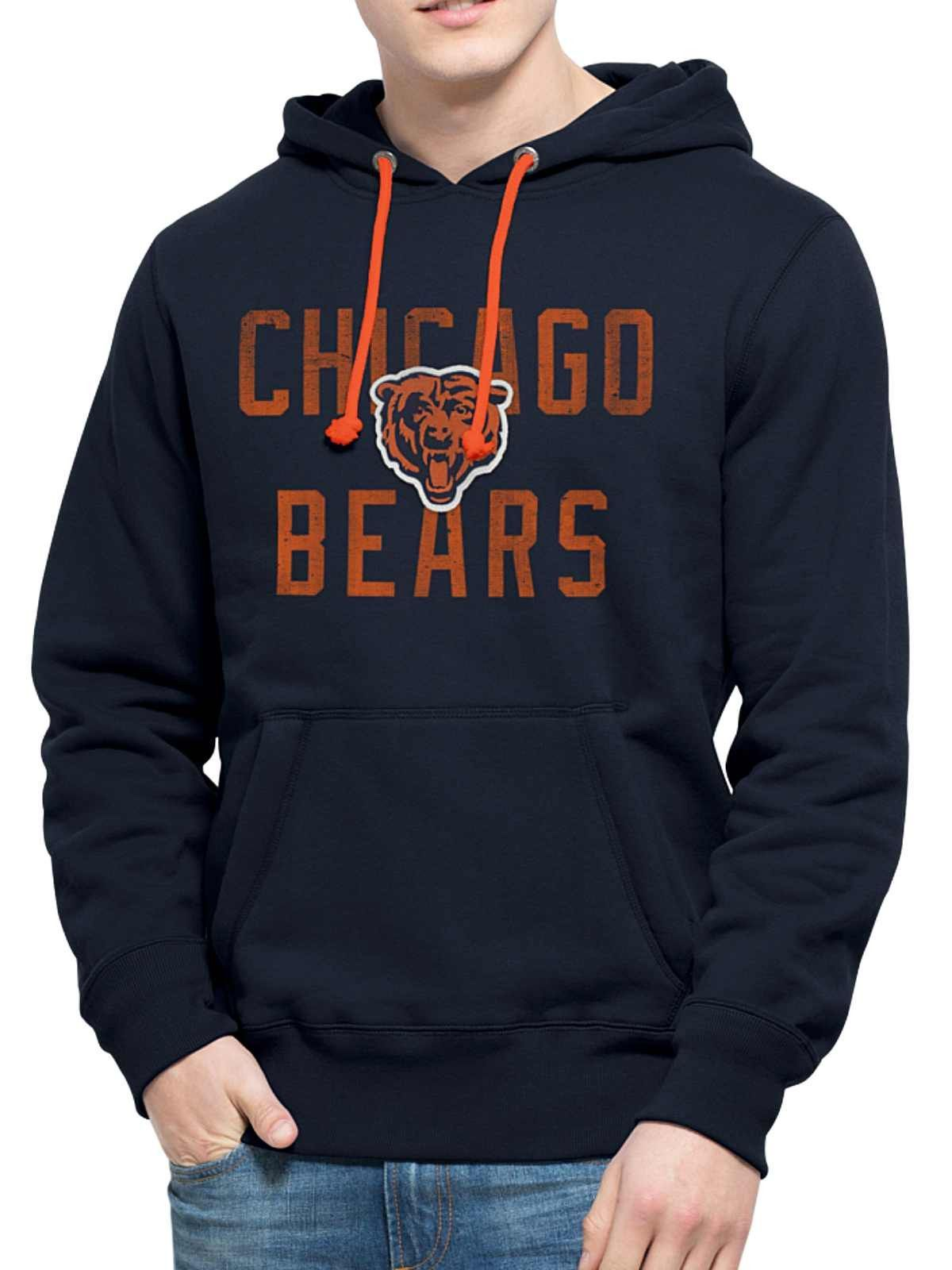 Chicago Bears 47 Brand Navy Cross-Check Pullover Hoodie Sweatshirt ... d87361499