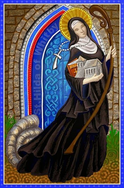 St Hilda of Whitby 614-680.Depicted with ammonites at her feet .Legend tells of a plague of snakes which Saint Hilda turned to stone. Which explained the presence of ammonite fossils in Whitby..
