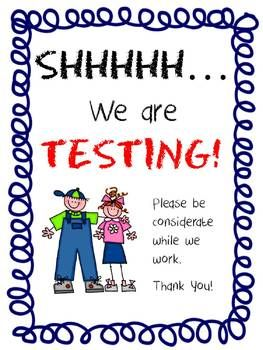 0c8a285d0ad1c {free] Shhh...Classroom Door Testing Sign...for End-of-Grade testing or any  time of year.