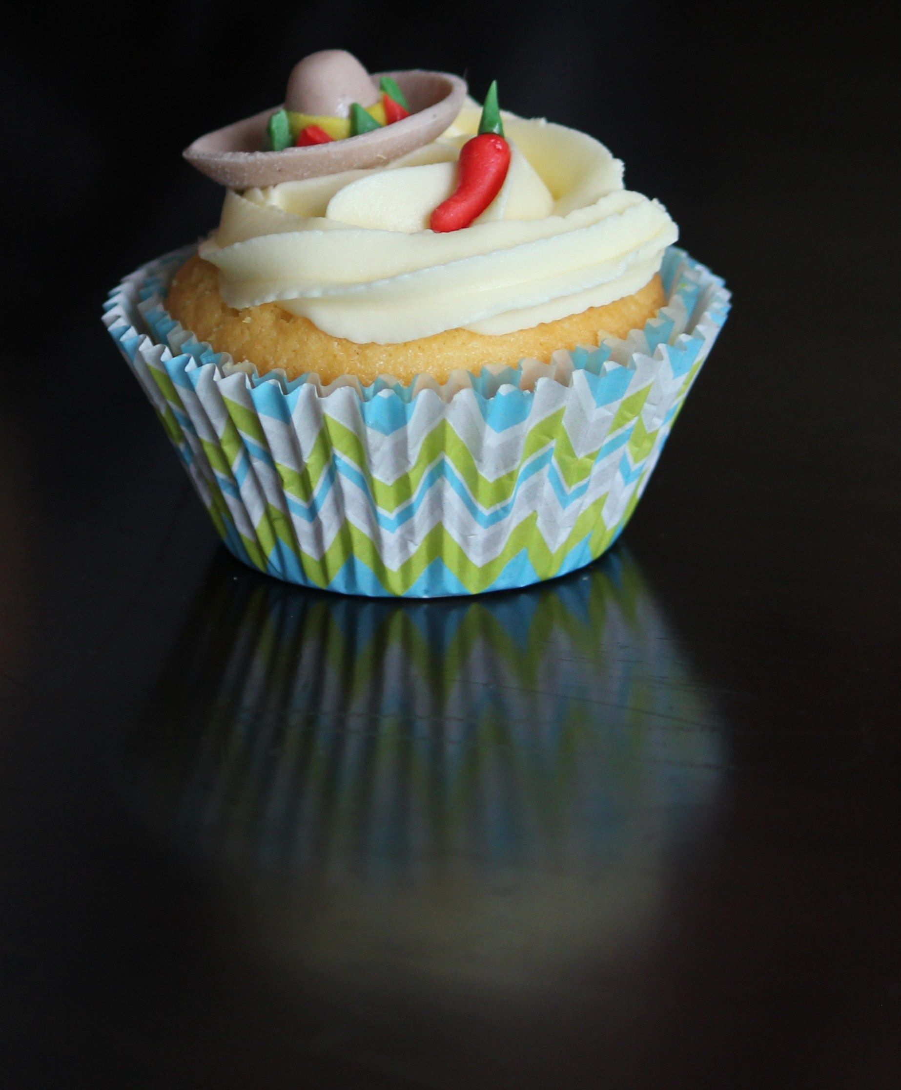 Mexican themed cupcakes sombrero and chilli pepper lemon