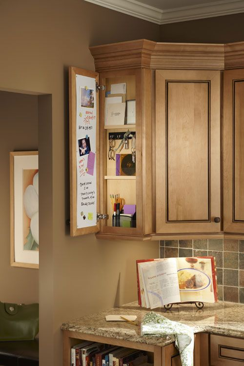 Pull Down Or Side Cabinet Message Centers Make Family Communication Easier Kitchen