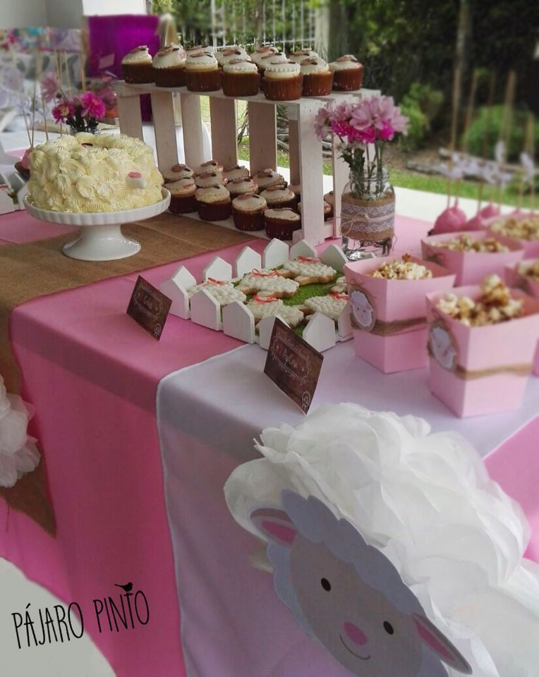 Baby shower mesa de dulces decoraci n rosa y toques - Baby shower decoracion ...