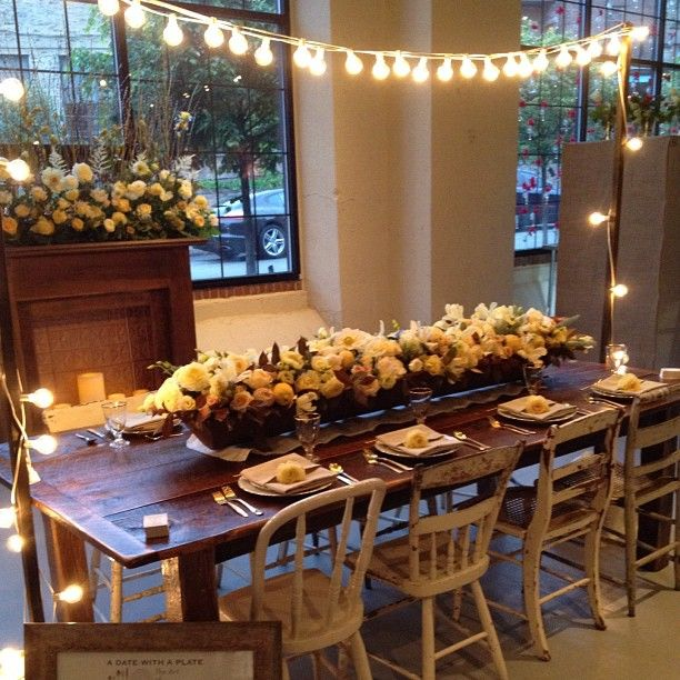 Cool decorating for a dinner party party and shower - Decorating with string lights indoors ...