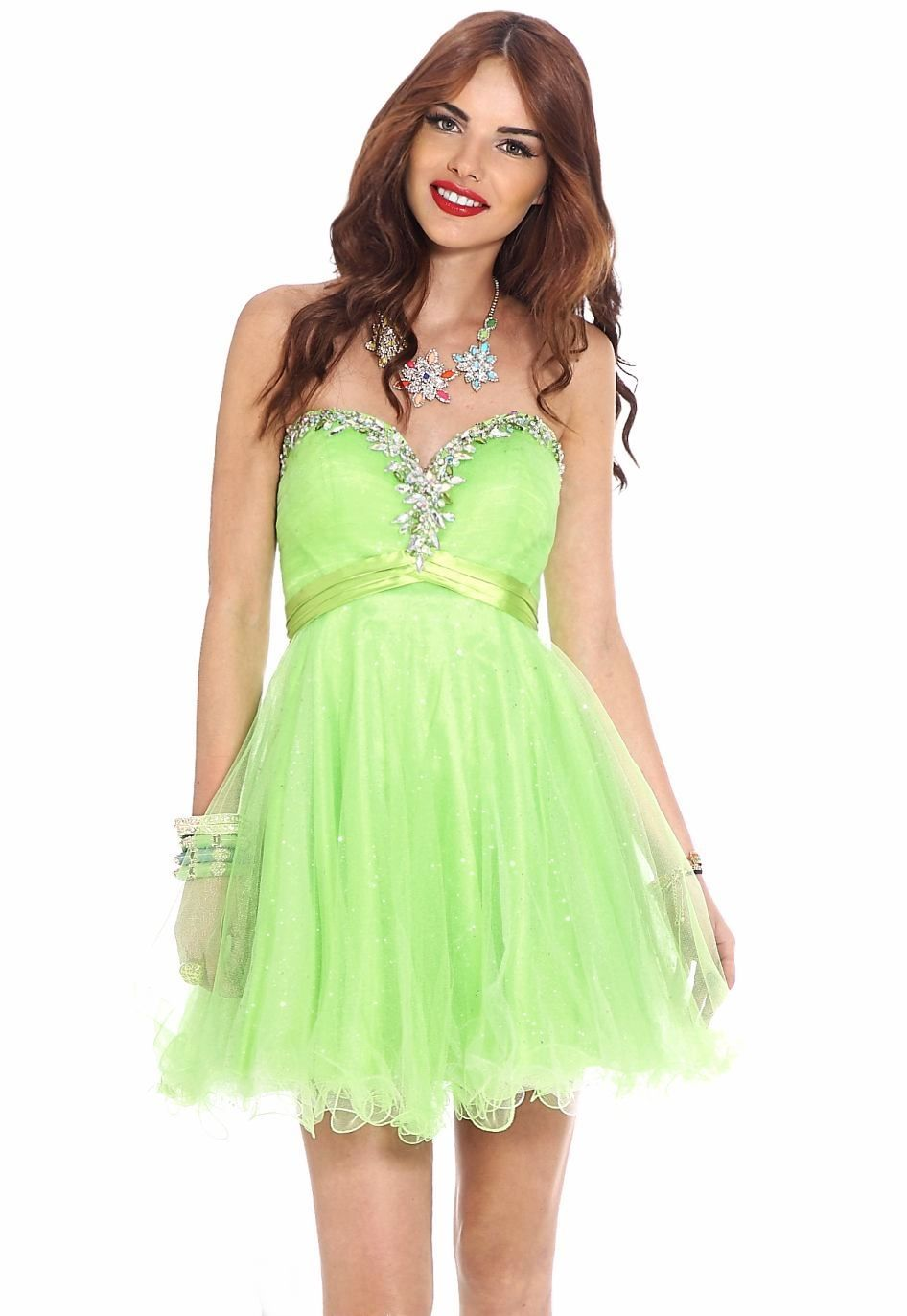 Lime mini dress with embellished sweetheart neckline by clarisse
