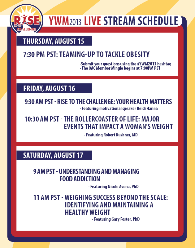 Live streaming educational sessions featuring experts in the field of #weight and #health during #YWM2013!