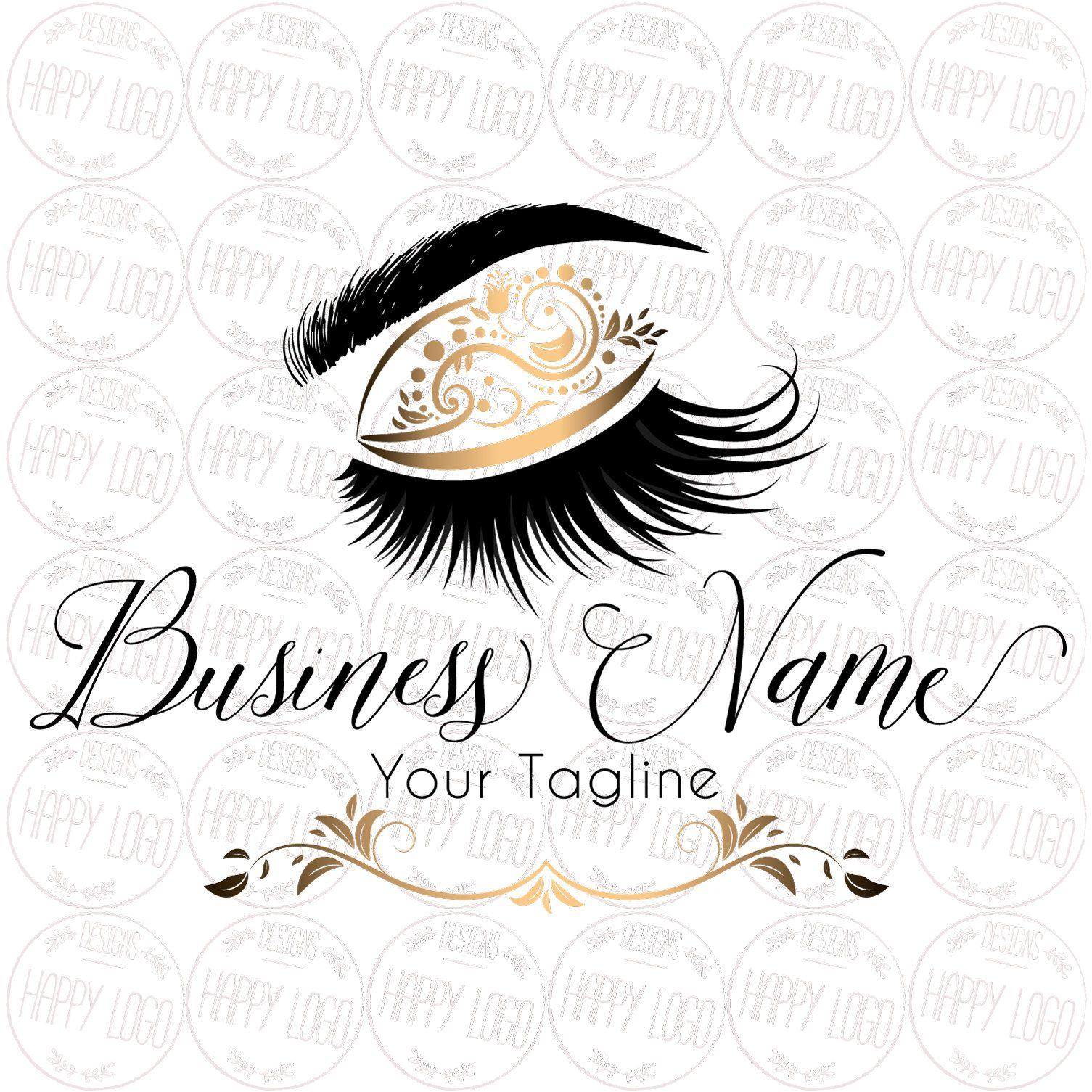 DIGITAL Custom logo design , elegant lash logo, gold lashes beauty