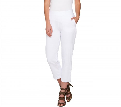 31.66$  Watch now - http://viawc.justgood.pw/vig/item.php?t=tv768g50551 - Women with Control Pull-On Elastic Waist Crop Pants Pockets White S NEW A276073