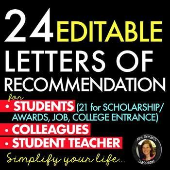 Letters of Recommendation for College, Scholarships, Awards - college recommendation letters
