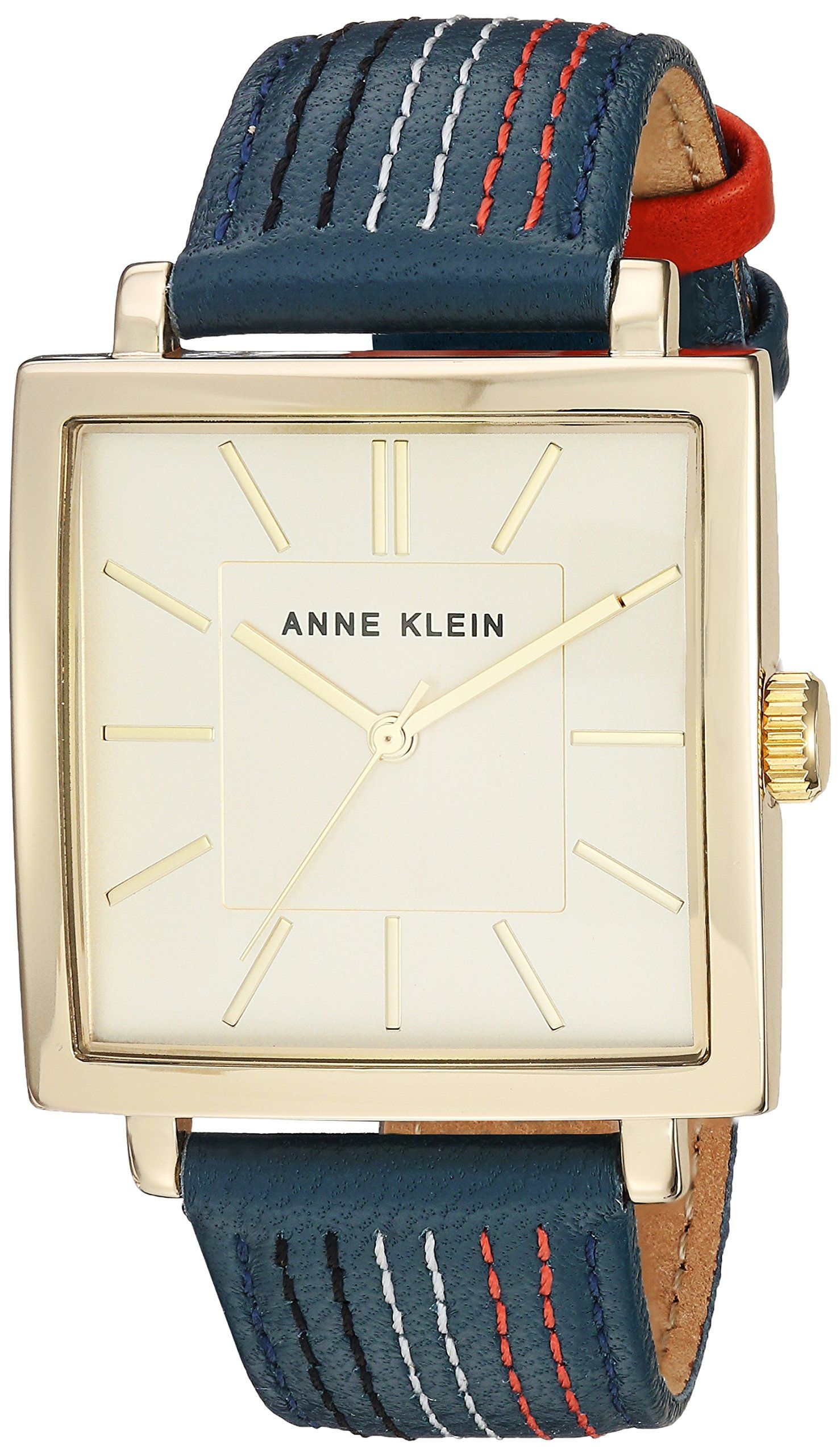 Anne Klein Women's AK/2740CHBL Gold-Tone and Navy Blue Leather Strap Watch