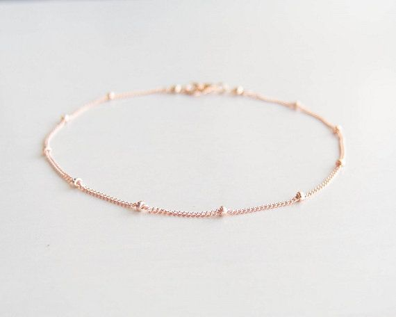 This Simple Bracelet Is Made With 14k Rose Gold Filled Satellite Chain Tiny Beads And Clasp So Delicate Beautiful Its Lovely By