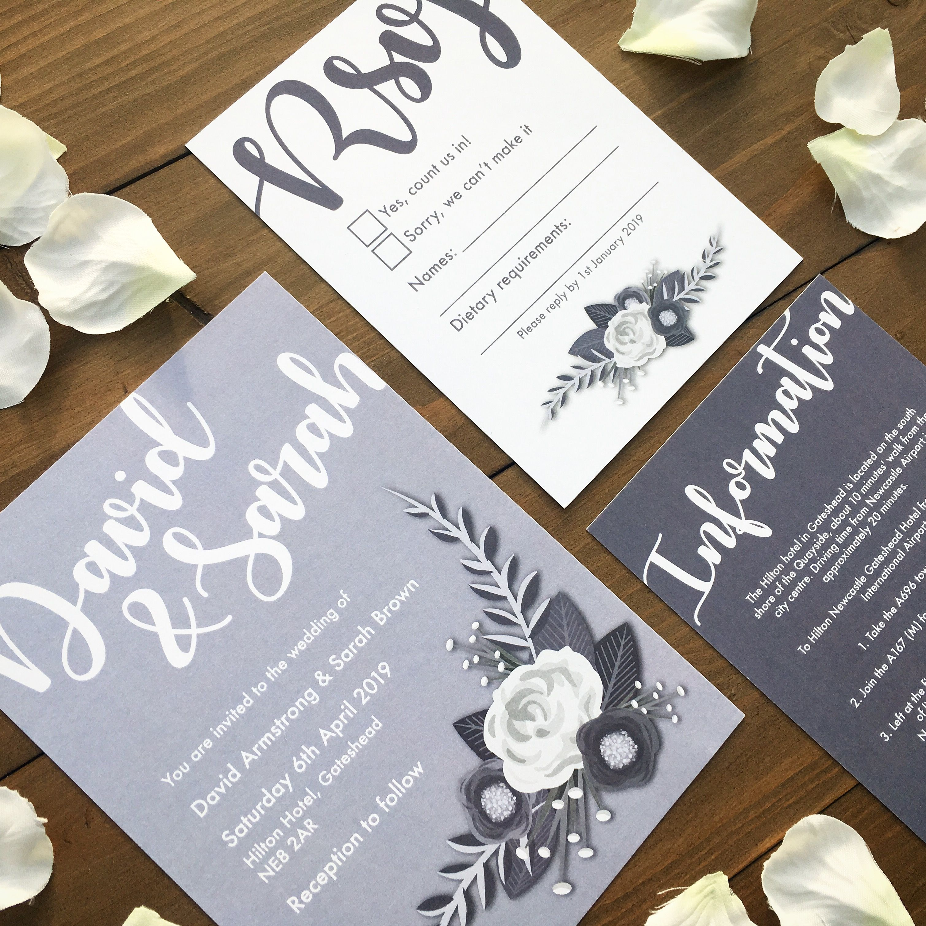 Monochrome Wedding Invitation RSVP and Info card