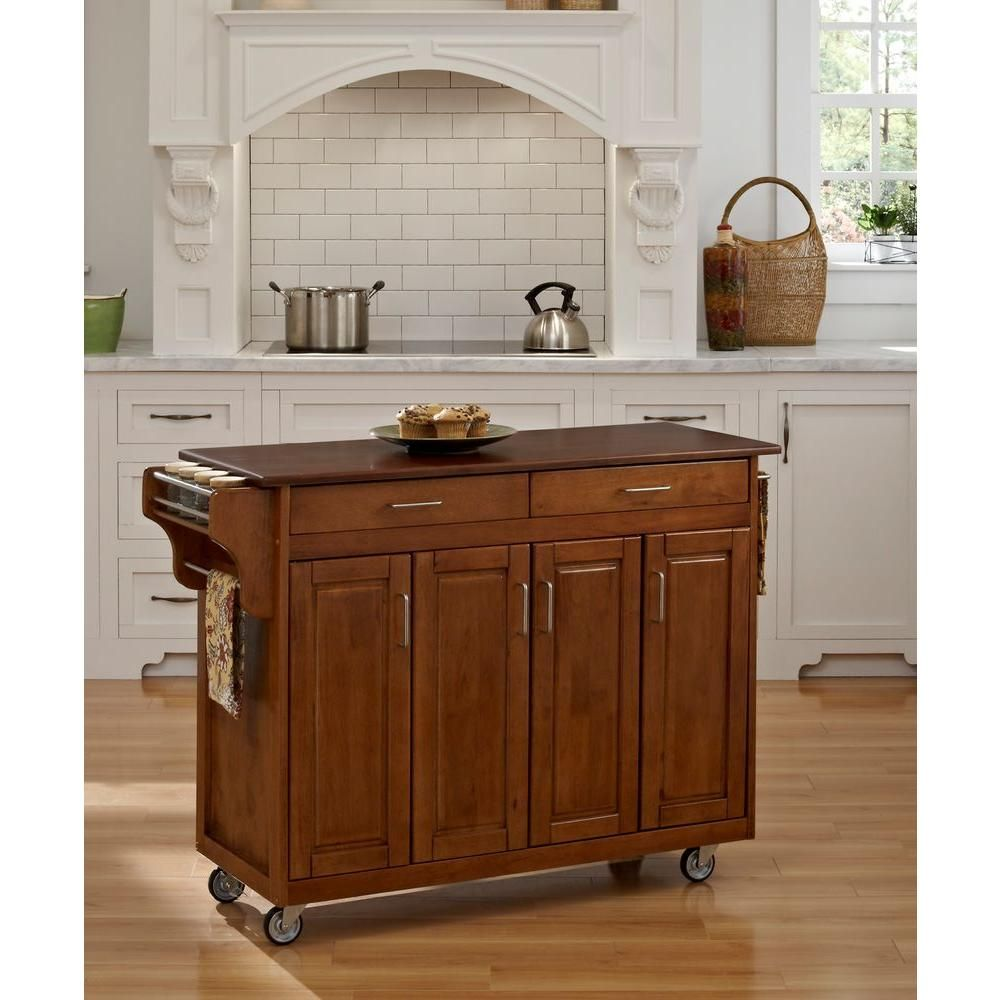 Create A Cart Wood Top Kitchen Cart With Towel Bar In Warm Oak Kitchen Island With Granite Top Kitchen Tops Granite Scandinavian Kitchen