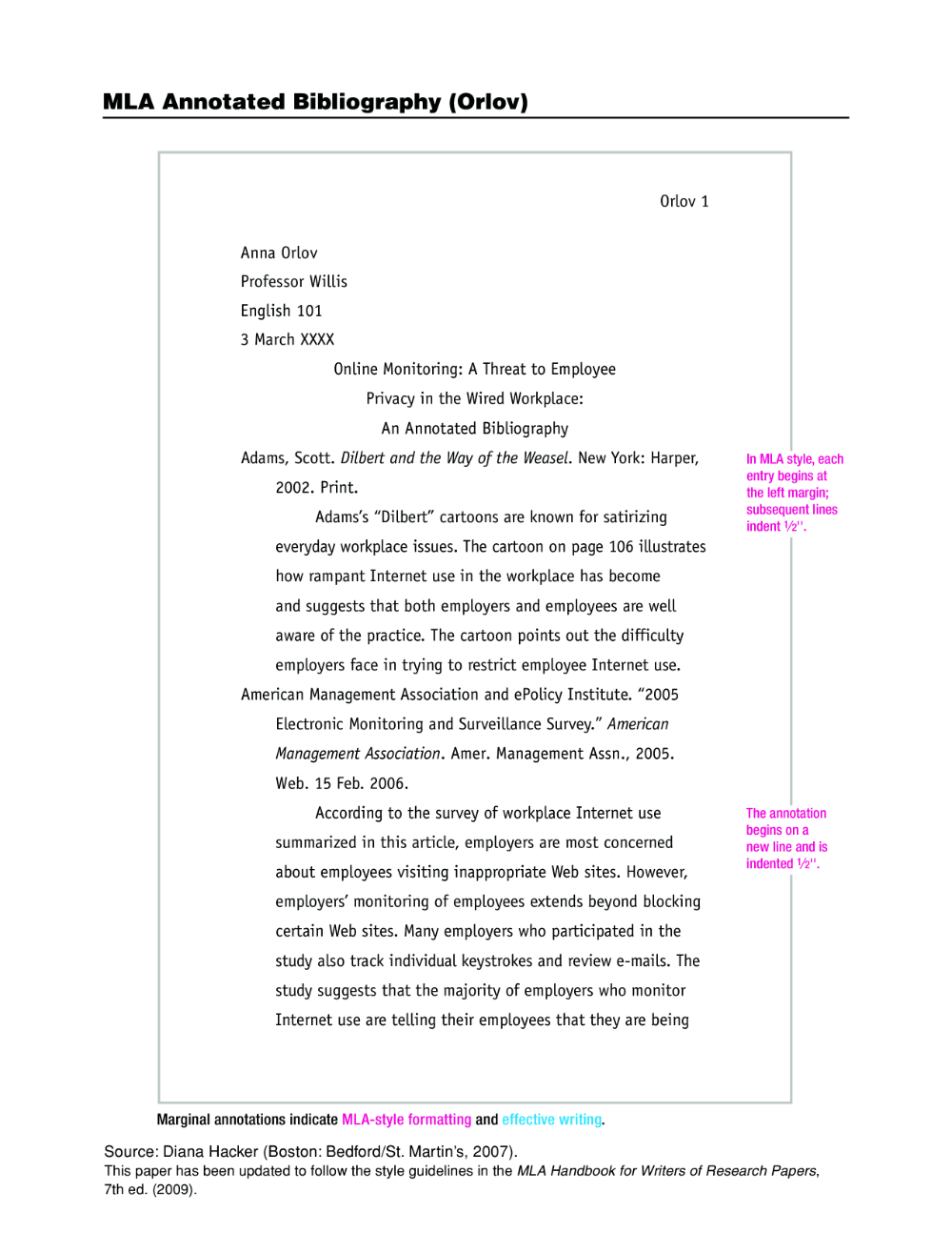 Annotated Bibliography Template Mla Handbook For Writer Of Research Paper 7th Edition Pdf Free Download