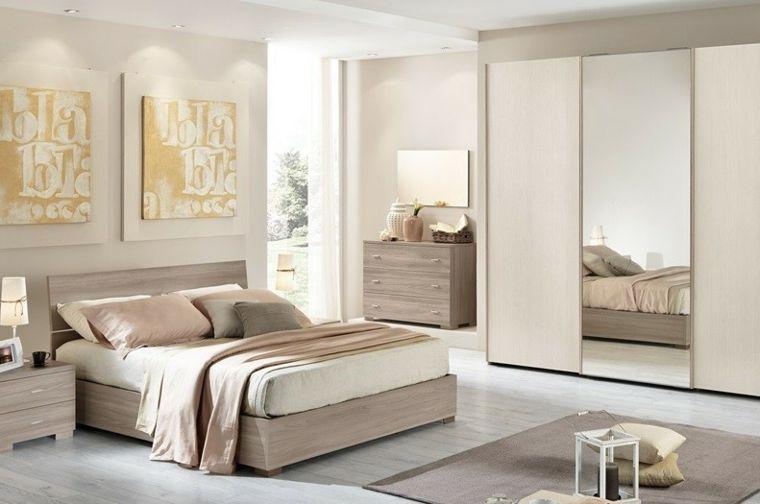 muebles de madera natural en el dormitorio moderno