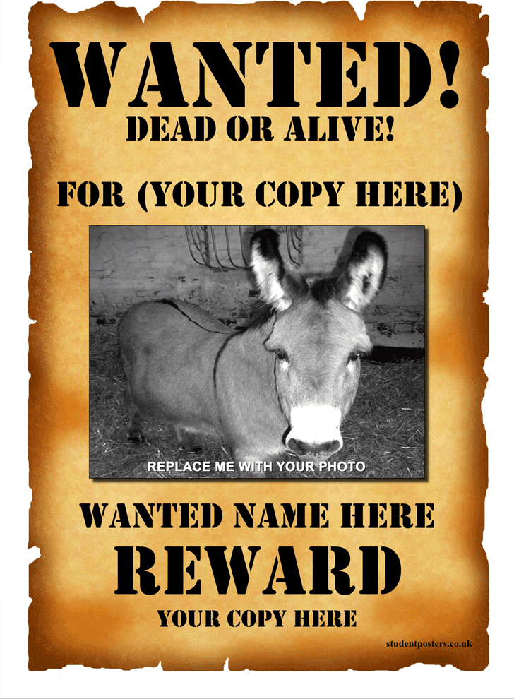Wanted poster template Wanted posters Pinterest – Missing Reward Poster Template