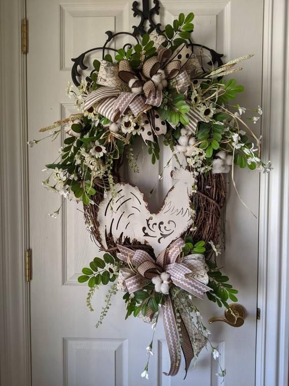 Photo of Farm House Wreath, Rooster Wreath, Summer Wreath, Country Chic wreat, Front Door Wreath, Mother's Da