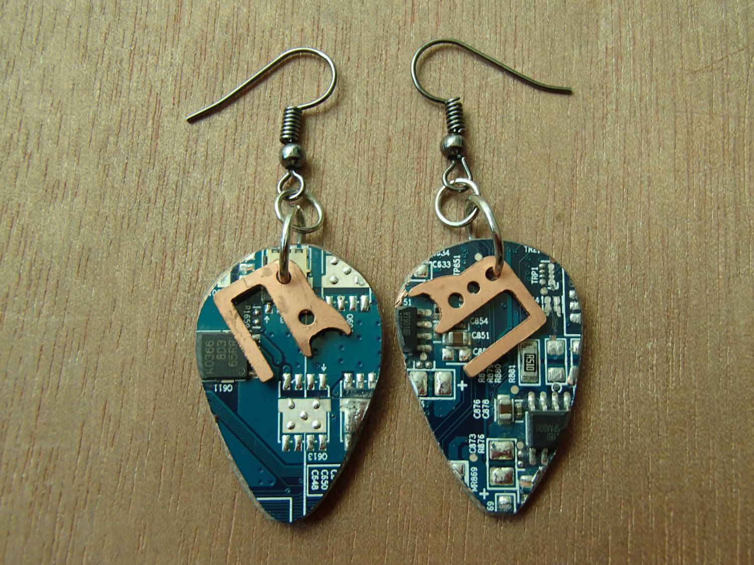 Circuit Board Earrings Guitar Pick Shape Blue Copper Recycled How To Make A Fun Funky