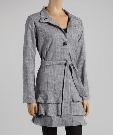 Look what I found on #zulily! Gray Plaid Tie-Waist Ruffle Coat - Women #zulilyfinds