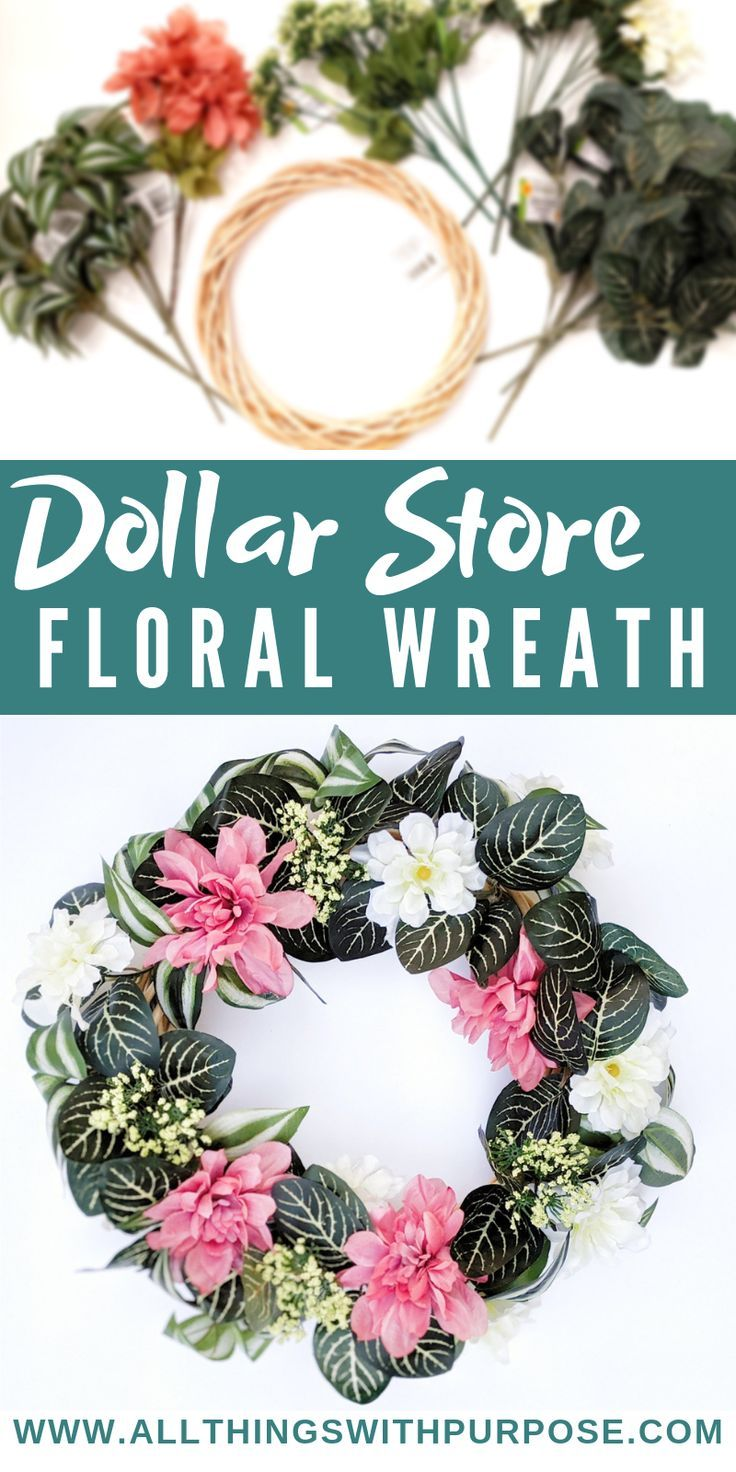 DIY Floral Wreath Using Only Dollar Store Supplies
