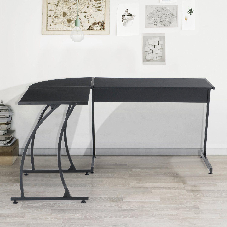 Greenforest l shape corner computer desk pc laptop table workstation home office 3 pieceblack