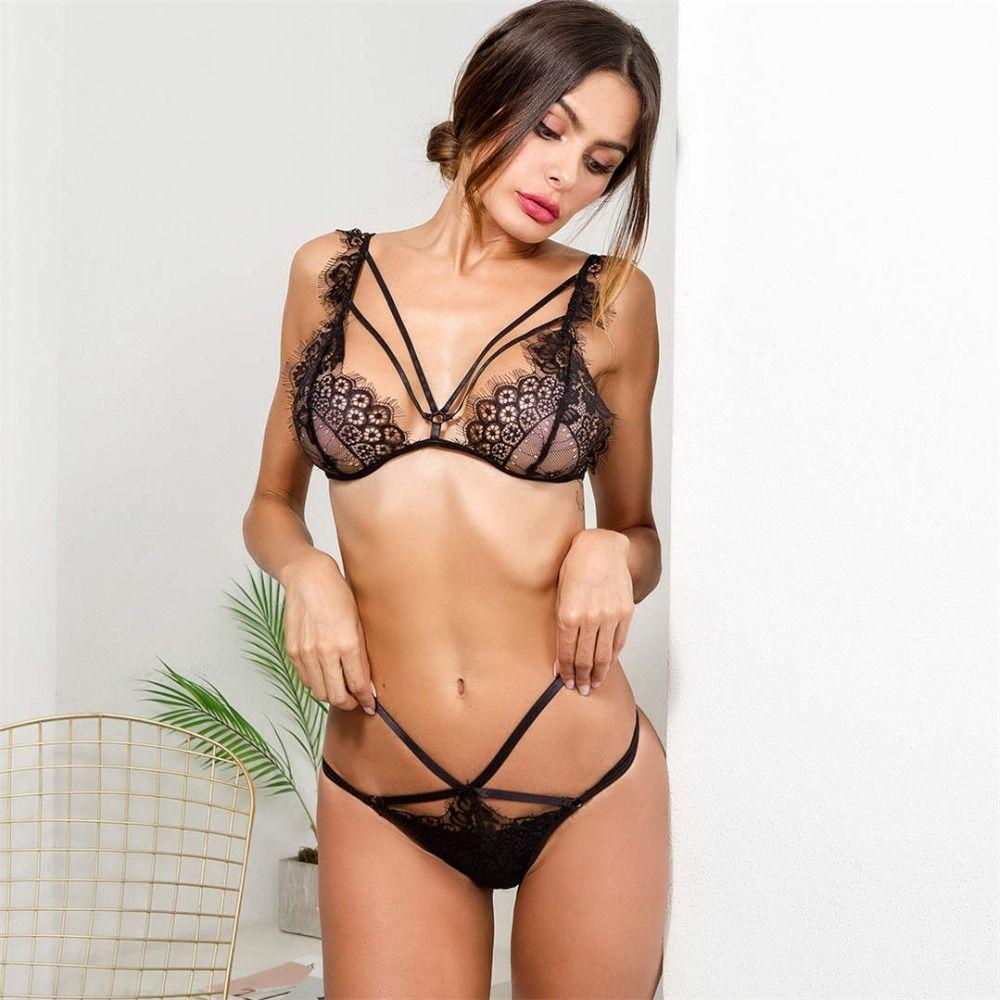 825466f8e57 Aliexpress.com   Buy sexy bra set black lace bralette women bandage lingerie  transparent wire free bras seamless hollow panties underwear suit LNE101  from ...