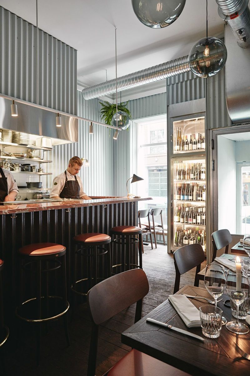 Trendhunter Metal Clad Restaurant Interiors This Finnish Is Lined With Corrugated Wall Panels
