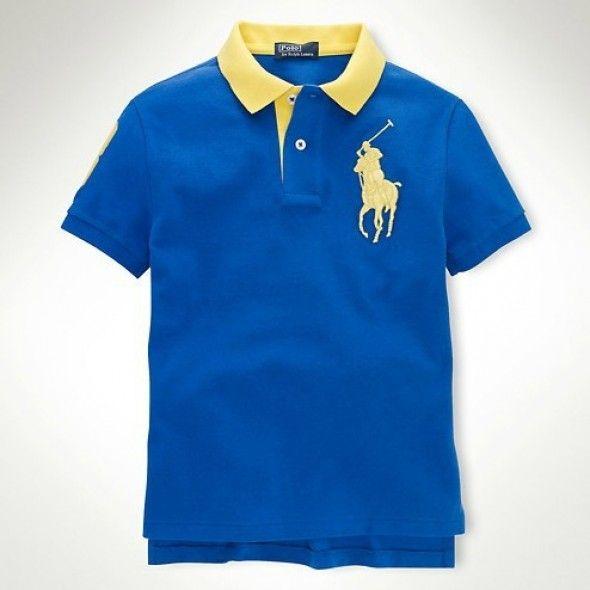 Ralph Lauren Men's Navy Big Pony Lightblue Polo