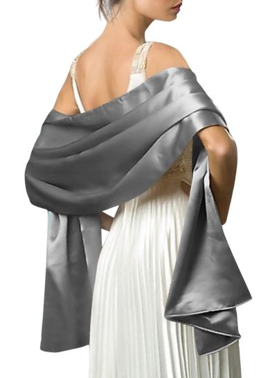 Solid Color Satin Shawl Wrap Oasap Com Evening Scarf Women S Evening Dresses Dress With Shawl