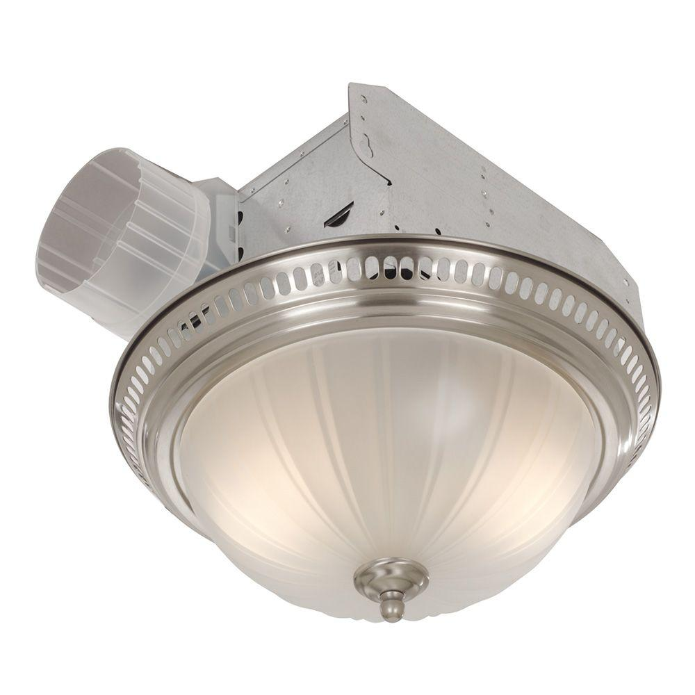 Broan Decorative Satin Nickel 70 Cfm Ceiling Bathroom Exhaust Fan With Light And Glass Globe 741sn Bathroom Fan Light Fan Light Fixtures Bathroom Exhaust Fan
