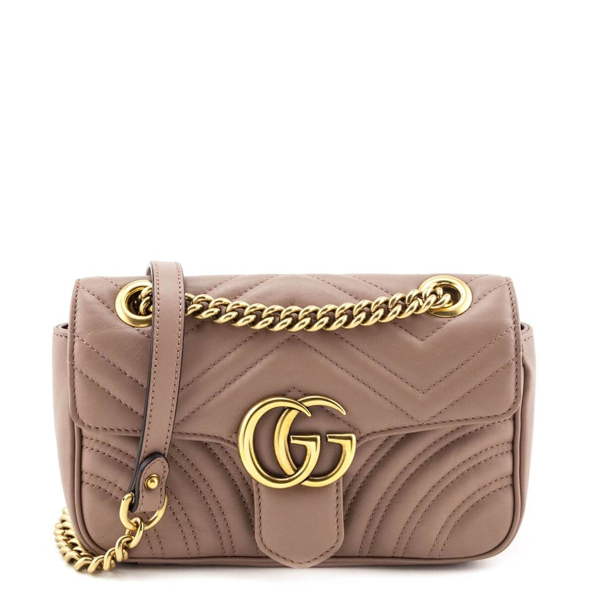 Gucci Dusty Rose Calfskin Matelasse Mini GG Marmon