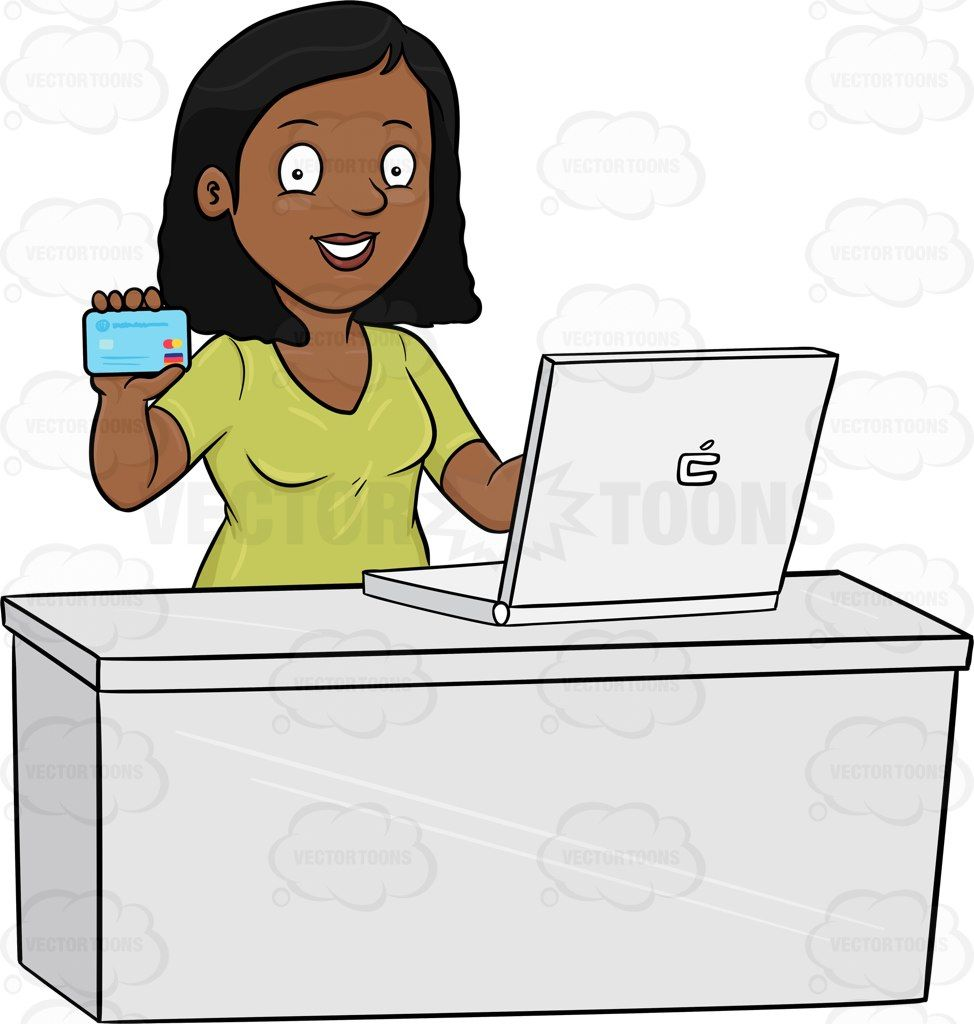 A Black Woman Excitedly Grabs Her Credit Card To Do Some