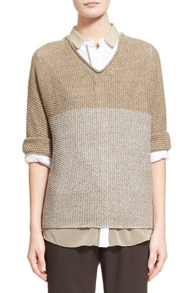 Fabiana Filippi 'Vanise' Paillette Embellished Linen Blend Sweater available at #Nordstrom