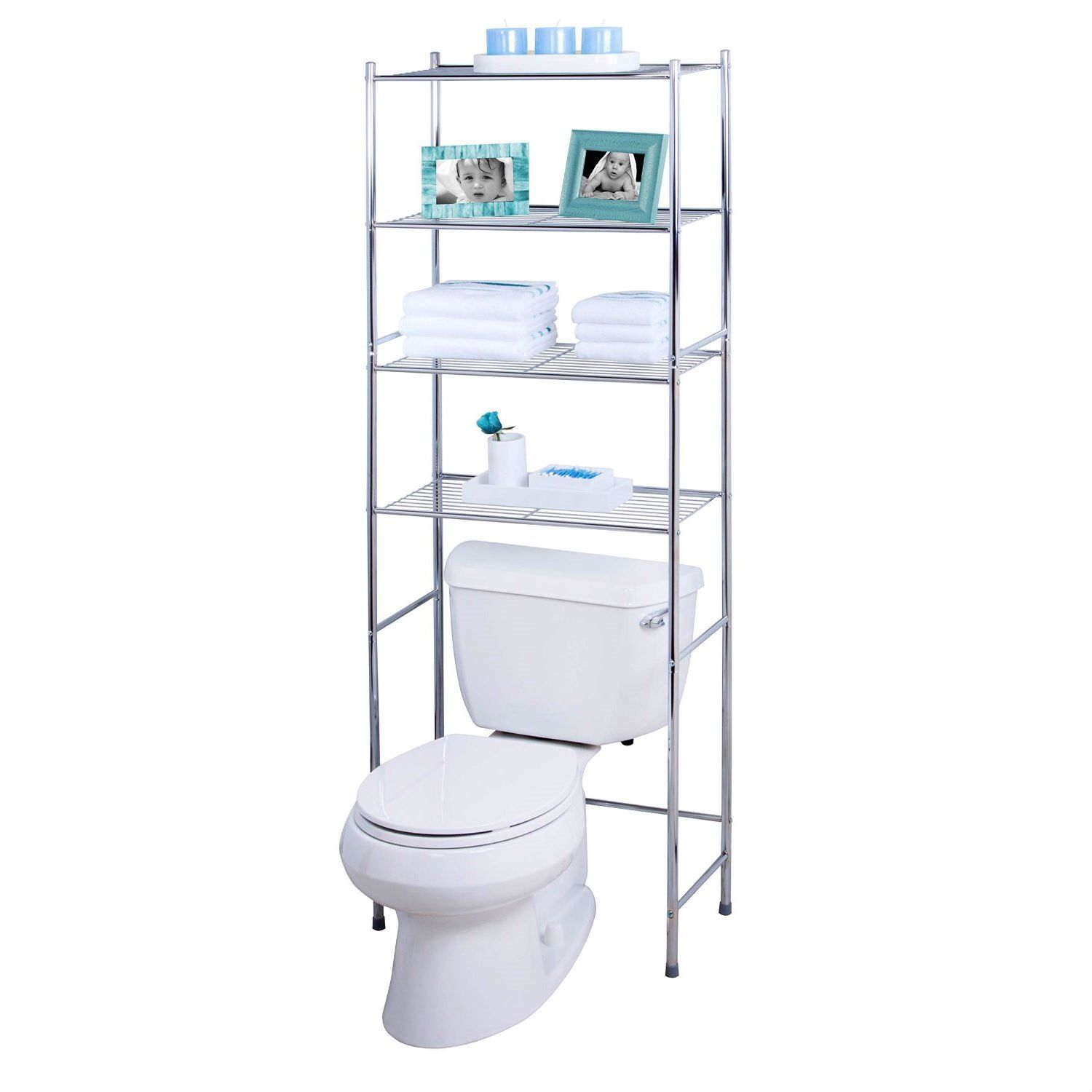 Bathroom Linen Tower Over The Toilet Shelving Unit In Chrome Metal Finish Bathroom Space Saver Over Toilet Storage Metal Bathroom Shelf