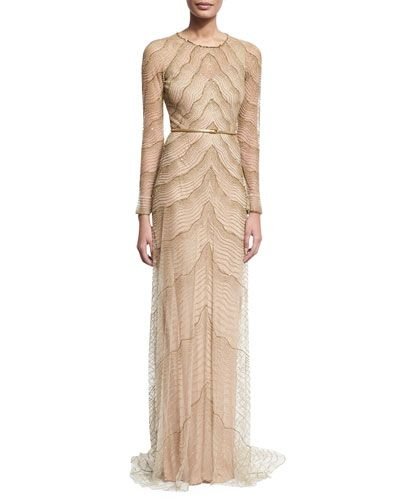 166c6f847b7 JENNY PACKHAM Beaded Illusion Long-Sleeve Gown