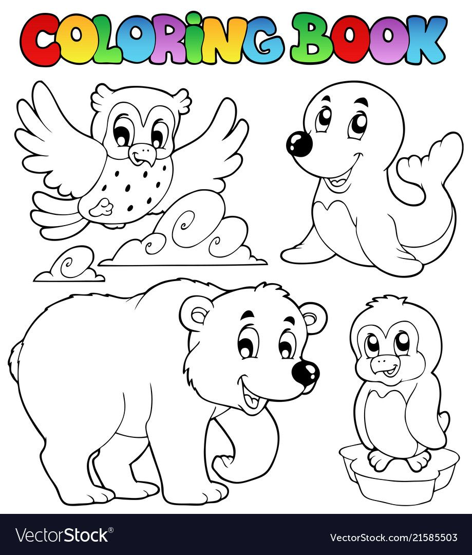 Coloring Book Happy Winter Animals Vector Image On Vectorstock Coloring Books Animal Coloring Books Coloring Book Download