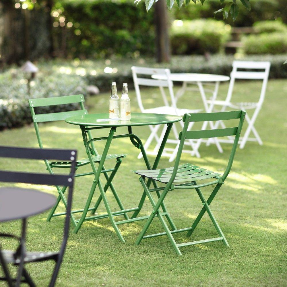 Home Decorators Collection Follie Green Outdoor 3 Piece Patio Bistro Set 1356810610 The H Outdoor Bistro Set Outdoor Patio Furniture Sets Outdoor Patio Decor