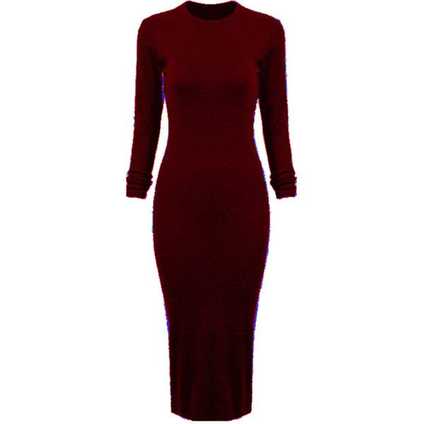 Wine Red Long Sleeve Split Back Bodycon Dress (€32) ❤ liked on Polyvore featuring dresses, vestidos, robes, red body con dress, long sleeve body con dress, long sleeve dress, long body con dress and longsleeve dress