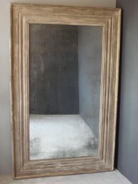 French Gray Painted Mirror Made from Reclaimed Wood