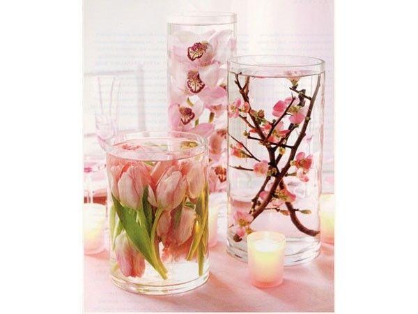 centros de mesa en tonos rosas