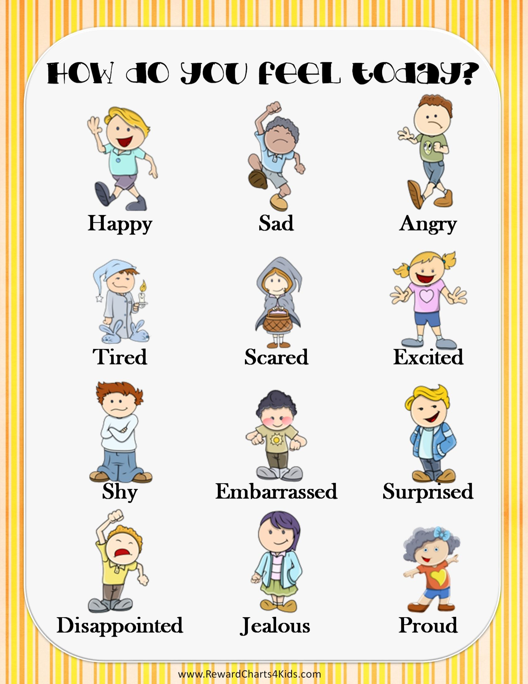 Chart That Reads How Do You Feel Today With 12 Pictures
