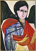 Goncharova, Natal'ia Sergeevna Russian (1881-1962) The Angel ca. 1909 Drawing Pencil, watercolor and gouache on paper mounted on board Sheet: 10 1/2 x 7 1/2 in.; 26.7 x 19.1 cm