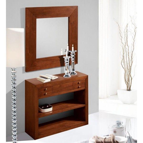 Recibidor madera de teka clasico 600 600 for Muebles teka baratos