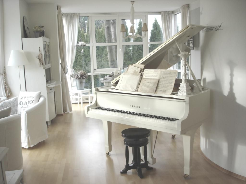 modern light furniture with black grand piano - Google ...