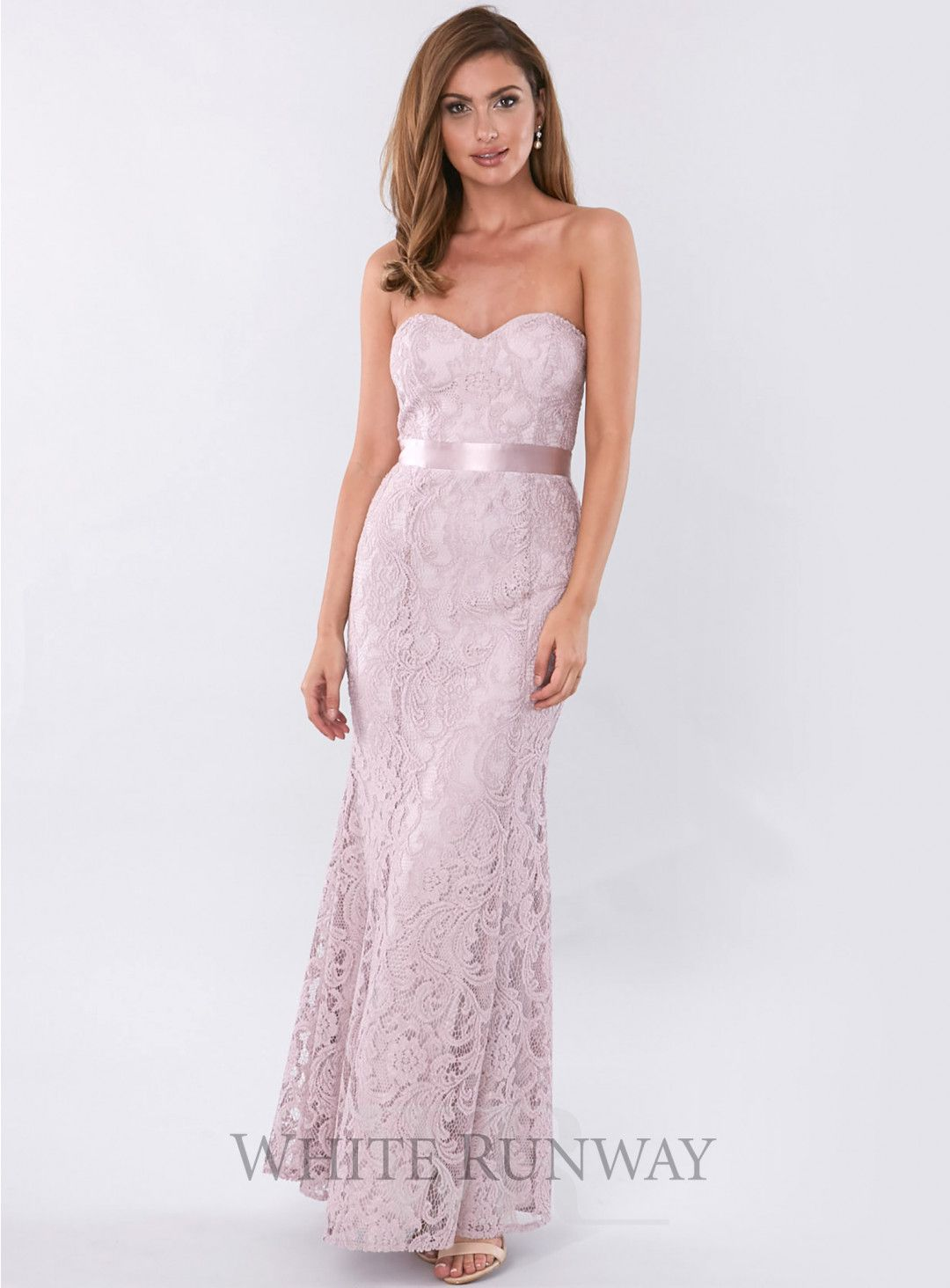 Flynn Dress . A gorgeous full length dress by Mr K. A strapless lace gown with sweetheart neckline and satin waistband.