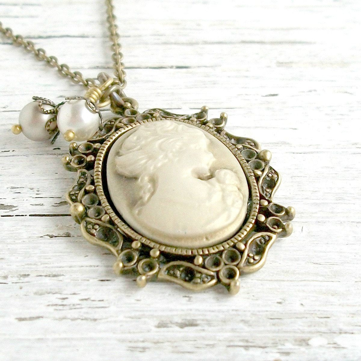 Victorian lady cameo necklace pearl cameo pendant vintage victorian lady cameo necklace pearl cameo pendant vintage inspired cameo jewelry antiqued gold aloadofball Images