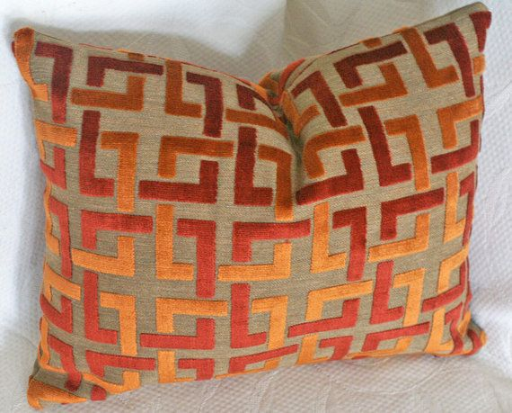 Orange Throw Pillow Contemporary Geometric by PillowThrowDecor