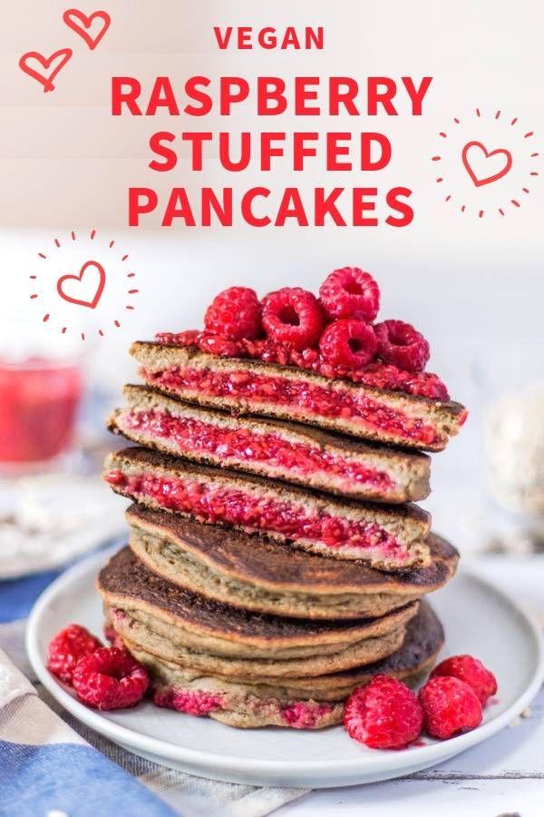 Raspberry Chia Jam Stuffed Pancakes Gluten Free Oil Free