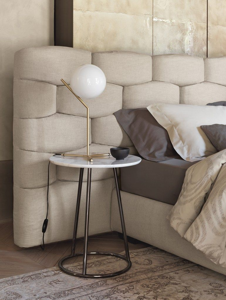 Smart Bedside Table: Double Bed With Upholstered Headboard MAJAL